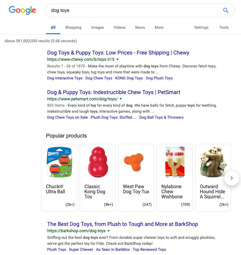 requête google usa recherche produit ecommerce