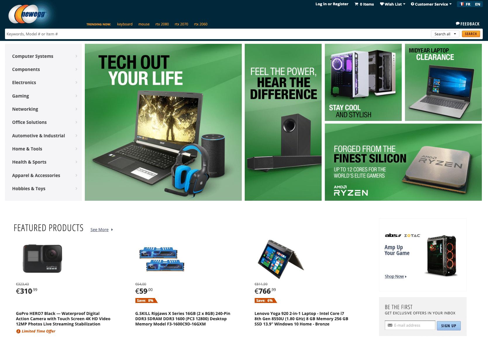 NewEgg - Exemple MarketPlace