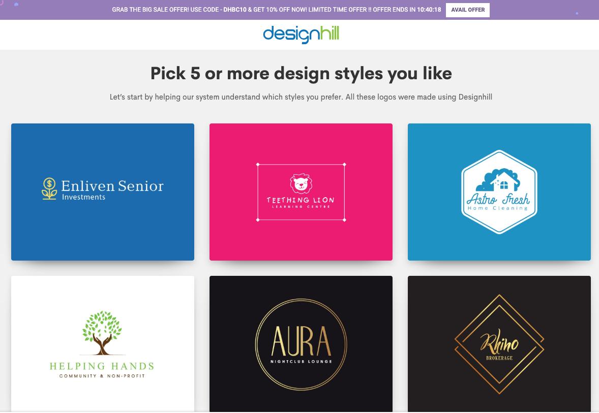 designhill outil de creation de logo en ligne gratuit