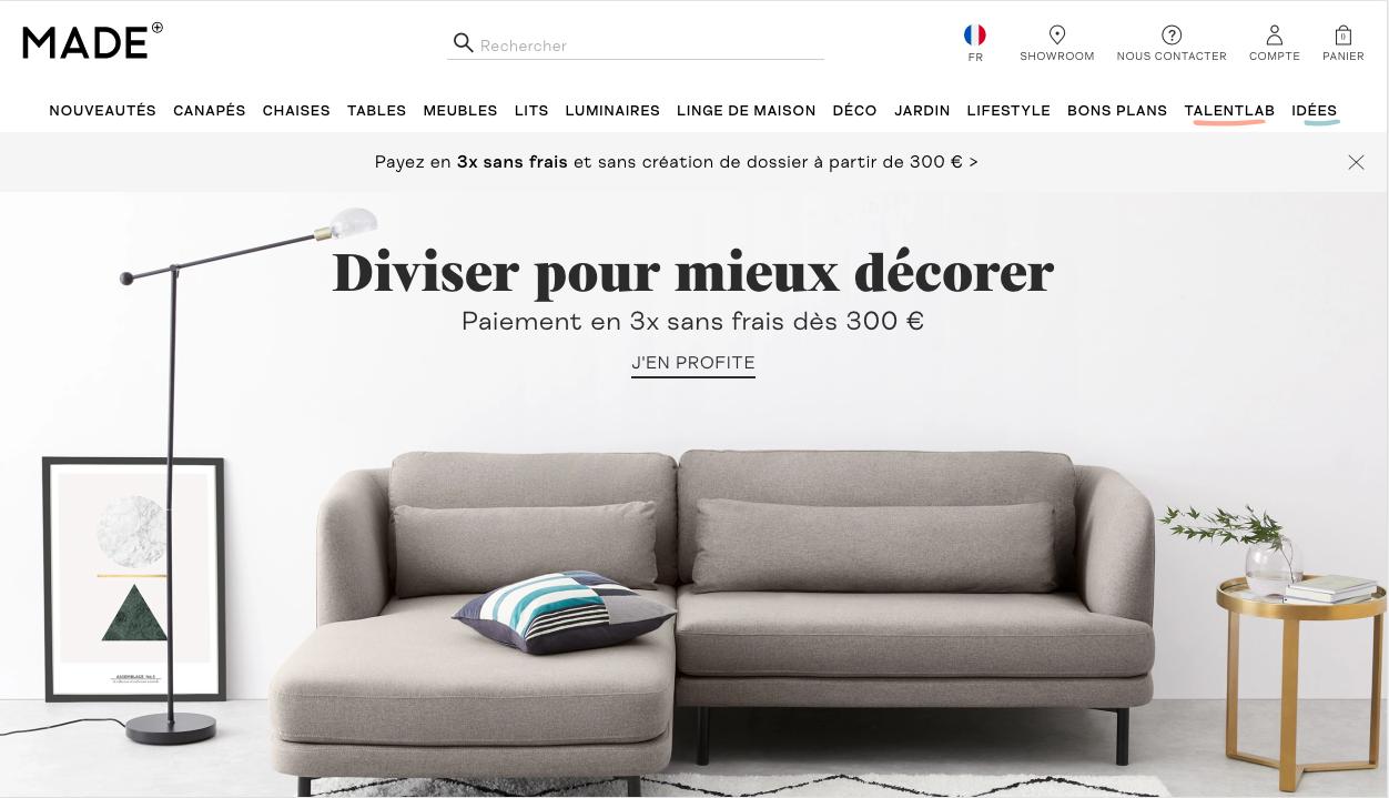 made.com exemple design site e-commerce